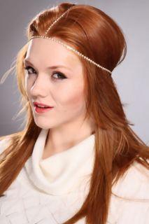 Gold Rhinestone Studded Elastic Band Headpeice @ Amiclubwear Girls