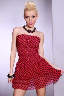 Home / FUCHSIA BLACK CHIFFON SMOCKED POLKADOT BUTTON RUFFLE DRESS