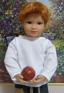 Fits 18 Inch Kidz n Cats Dolls .. Boy Doll White Long Sleeve T Shirt