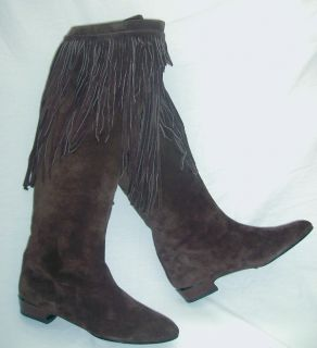 CHARLES JOURDAN PARIS KNEE HI SUEDE FRINGE BOOTS MADE IN FRANCE DARK