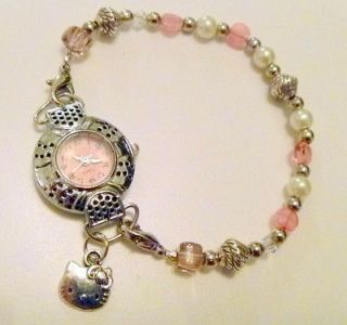 Handcrafted Hello Kitty Charm Watch with Swarovski Crystal Beads