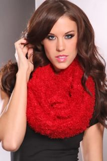 Red Soft Fuzzy Infinity Scarf @ Amiclubwear scarf Online Store,scarves