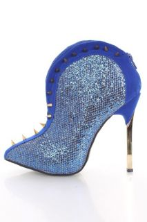 Blue Glitter Faux Suede Spike Studded Trim Booties