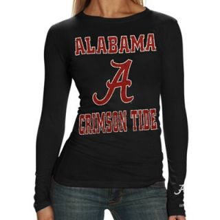 Alabama Crimson Tide Ladies Black Distressed University Logo Long