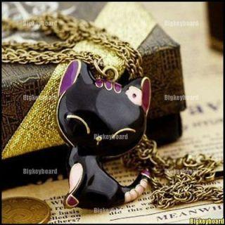 Retro Style Sweetness Smile Kitty Cat Pendant Long Necklace