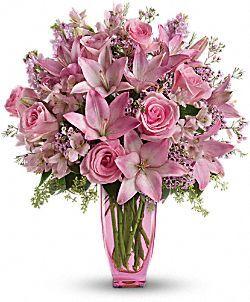 Muy Femenino con Rosas Color Rosa Flores, Arreglo Floral Muy Femenino