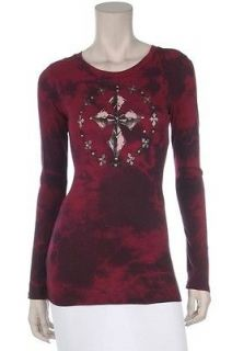 VOCAL Burgundy Shirt Long Sleeve Womens Top Tattoo Art Cross Wings