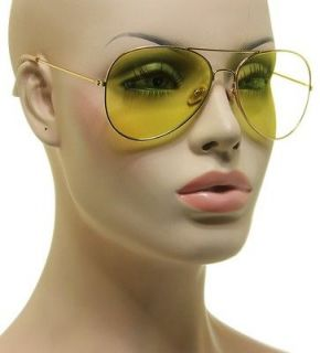 New Mnes Vintage Pilot Night Driver Aviator Sunglasses Gold Frame