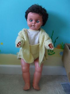 Horsman Vintage Doll 1970s Black hair blue eyes approx 26 tall 1960s