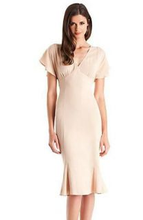 NWT $188 MARCIANO GUESS Tilda Silk Neutral Dress Casual Cocktail Day