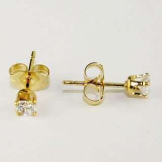 Gold 18k GF Earrings CZ White Crystal 2mm Childs Kids Girl Baby Stud