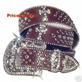 New Women Rhinestone Crystal Bling Brown Cross Leather Buckle Belt L