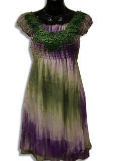 TIE DYE FLOWER PURPLE GREEN GIRL MOON RIVER PRETEEN DRESS TOP 26 28