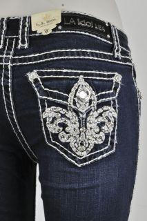LA Idol Skinny Jeans Plus Size SZ 15 21 W Fleur De Lis Jewel and studs
