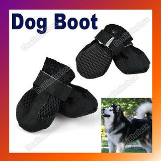 Cute Black Pet Dog Booties Shoes Air Holes Black Suede Synthetic