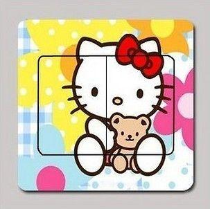 US03 Furniture Light Switch Panel Sticker   Hello Kitty