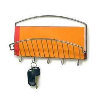 CHROME wall letter holder MAIL KEY rack organizer New