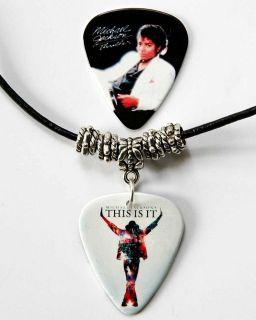 Michael Jackson Black Leather Guitar Pick Necklace + Pick