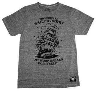 Sailor Jerry Anchor My Work Speaks Tattoo Artist Gray Soft Adult T