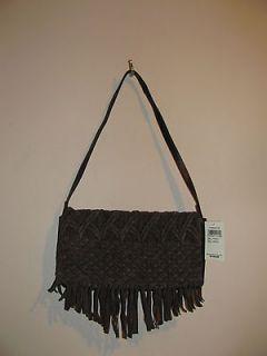 NWT Lucky Brand Daisy Macrame Fringe Crossbody Clutch Bag Brown MSRP