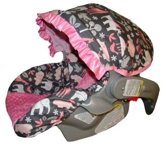 Baby Car Seat Cover   Infant Car Seat Cover   Pink Zoology