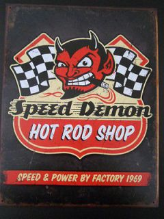 Speed Demon Hot Rat Rod Shop Bike Muscle Car Racing Motorcycle Steel
