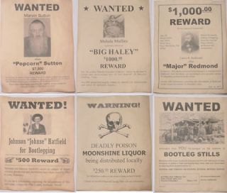 Moonshine Wanted Posters Popcorn Sutton, Big Haley, Hatfield, more