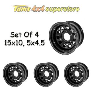 15500.02 Rugged Ridge Set Of 4 Black Steel Wheels 15x10 5x4.5, Jeep