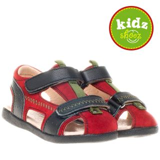 Boys Kids Toddler Childrens Leather & Suede Sandals Shoes   Red, Black
