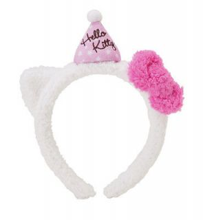 NEW SANRIO HELLO KITTY PINK PLUSH BIRTHDAY HEADBAND HAIR BAND kids