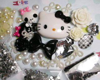 DIY Black Bow Hello kitty Bling Flatback Resin Cabochon Kawaii Deco
