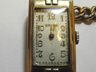 ART DECO GRUEN WATCH 17 JEWEL RUNNING KEEPS TIME! GREAT 10K GOLD