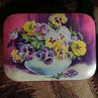 Harry Vincent Blue bird toffee tin Floral pansys