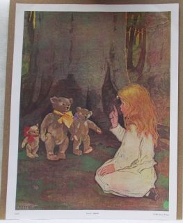BEARS & GIRL LOVERS QUARREL PRINT BY JESSIE WILCOX SMITH (1982