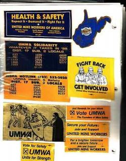 10 DIFF.NICE UMWA COAL MINING STICKERS # 205