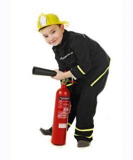 Boys Kids Fireman Fancy Dress Halloween Costume Includes Helmet Like