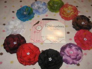 Lot of 6 Jasmine Flowers w/rhinestones & Hair clips baby/infant/to