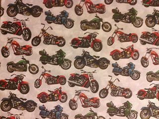MOTORCYCLE BIKER HARLEY CHOPPER INDIANS BLUE COTTON FABRIC FQ
