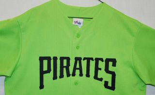VTG Majestic Pittsburgh Pirates SEWN Baseball Jersey Mens XL Lime