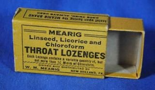 Vtg Mearig Empty Cardboard Box Chloroform Lozenges Medicine New