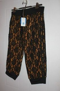 ADIDAS JEREMY SCOTT SEQUINS FLOWER LACED CROP TRACK PANTS Size L Free