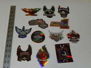 LOT OF 12 HARLEY DAVIDSON WINDOW DECALS (AS PICTURED)