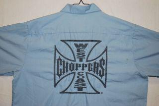 VTG Jesse James West Coast Choppers S/S Blue Button Up Shirt Mens L