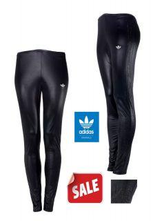 New Womens Adidas Originals Rhinestone Black Shinny WET LOOK Leggings