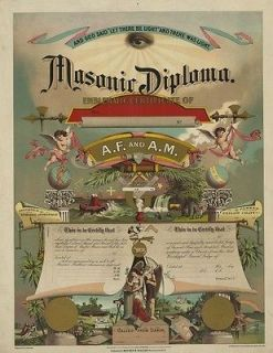 MASONIC DIPLOMA EMBLEMATIC CERTIFICATE ENTERED APPRENTICE MASTER 13X19