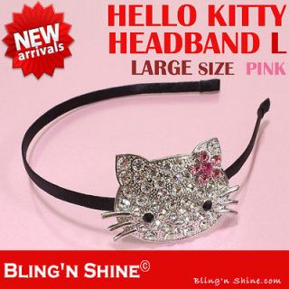 Hello Kitty Large Headband Swarovski Crystal Sparkling Hair band Pink