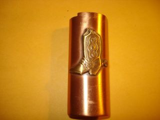 Vintage Brasstone Coppertone Metal Cowboy Boot Lighter Case~Holder 80