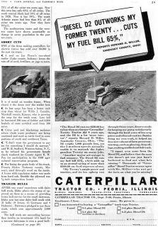 1939 Caterpillar CAT Diesel D2 Track Type Farm Tractor Ad