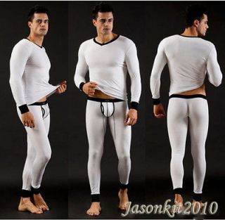 Men Comfortable Underpant Sexy Long Smooth Thermal underwear White