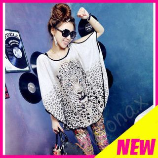 HOT Leopard Head Print Batwing Slit Sleeves Long Loose Blouse T Shirt